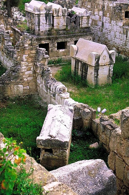 Roman cemetery (necropolis) in Tyre (South Lebanon) an ancient Phoenician city and the legendary birthplace of Europa and Elissa (Dido). The city has a number of ancient sites, including its Roman Hippodrome .