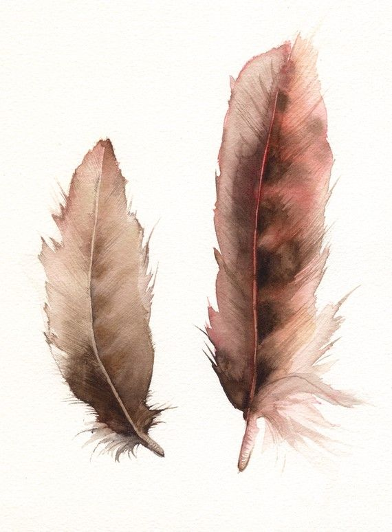Feathers No. 2   feather painting, nature, archival print.. $20.00, via Etsy.