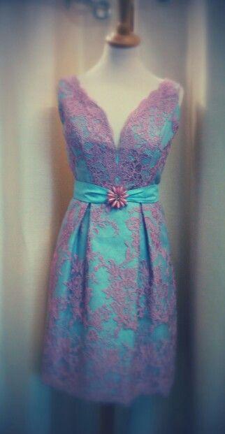 Pink lace over blue silk, designed by Geraldine O'Meara designs 05791 20966
