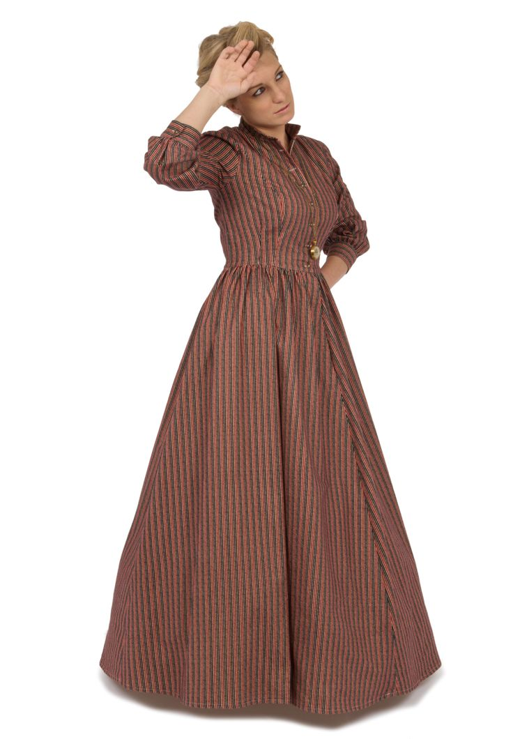 """Recollections  Code: 141142  Victorian-inspired """"work dress"""" dress in cotton flannel. gently fitted bodice has high collar, and three-quarter sleeves with buttoned cuffs. full three-gored skirt is gathered smoothly into the bodice at the waist, and includes very practical pockets. Buttons close the front for easy dressing."""