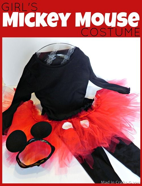 Cute Girl's Mickey Mouse Costume