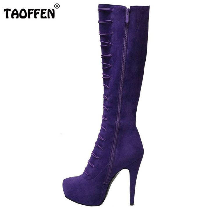 93.83$  Watch now - http://ali337.worldwells.pw/go.php?t=32674028106 - Women High Heel Knee Boots Fashion Buckle Ladies Shoes Woman Pointed Toe Heeled Botas Sexy Brand Heels Footwear Size 35-46 B187