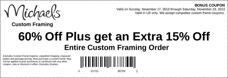 michaels coupons custom framing 60 off plus get an extra 15 off entire custom framing order httpswwwfac pinteres - Michaels Frames Coupons