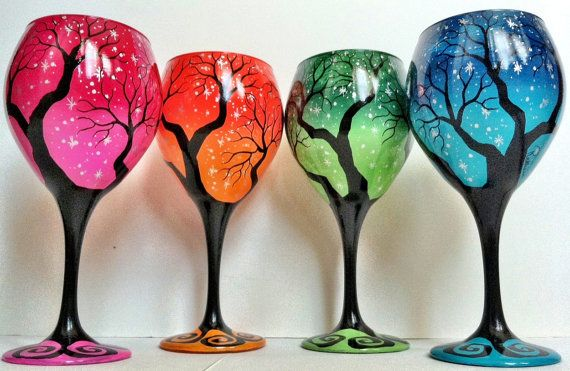 Hey, I found this really awesome Etsy listing at http://www.etsy.com/listing/128697539/set-of-4-tree-wine-glasses