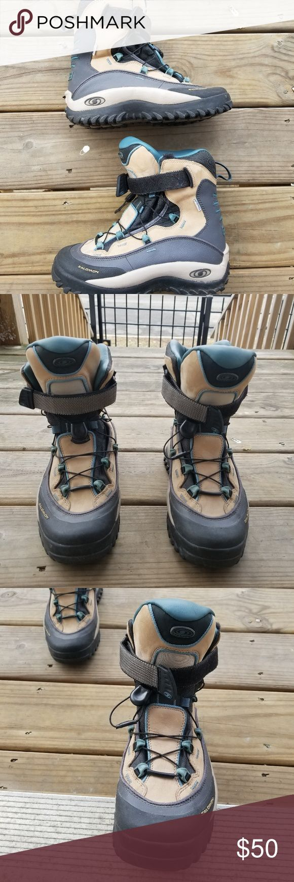 Salomon Boots Clima-dry Thinsulate Winter/Trail/Hiking Outdoor Boots. Contagrip Soles, Bungee lace & Velcro strap Interior is padded - Thinsulate lined, these are in Excellent Condition, very clean with barely-worn treads From a clean, non-smoking home. Salomon Shoes Winter & Rain Boots