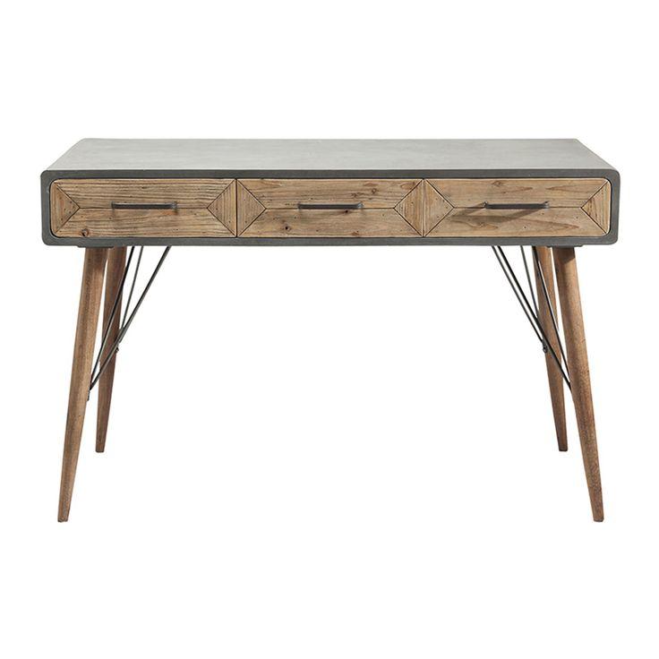 Ett skrivbord i nätt, retro design med en fin mix av betongfinish och rustikt trä - som i serien  X-Industry.Mått: B 120 x H 76 X D 60 cmVikt: 24kg