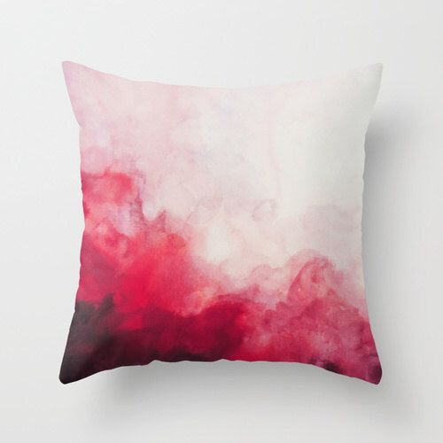 Rouge, Abstract Watercolor Pillow, Art Pillow, Throw Pillow, Home Decor, Accent Pillow, with Optional Insert by SABartStudio on Etsy https://www.etsy.com/listing/228675266/rouge-abstract-watercolor-pillow-art