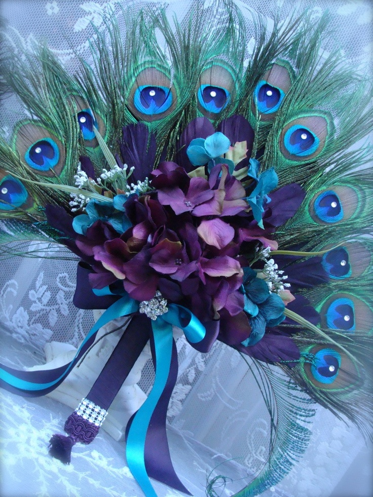 Peacock Feather Floral Fan Bouquets for Amilie - FINAL PAYMENT. $210.00, via Etsy.