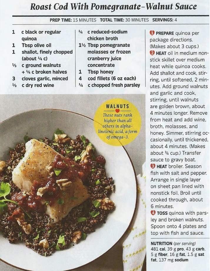 Roasted cod with pomegranate - walnut sauce