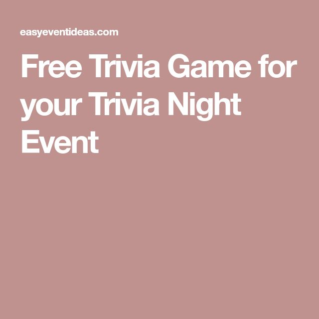 Free Trivia Game for your Trivia Night Event