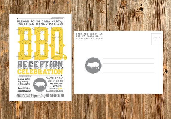 Casual customizable bbq wedding reception postcard invitation. This 4 x 6 is easy to print at home or send to an online printer.
