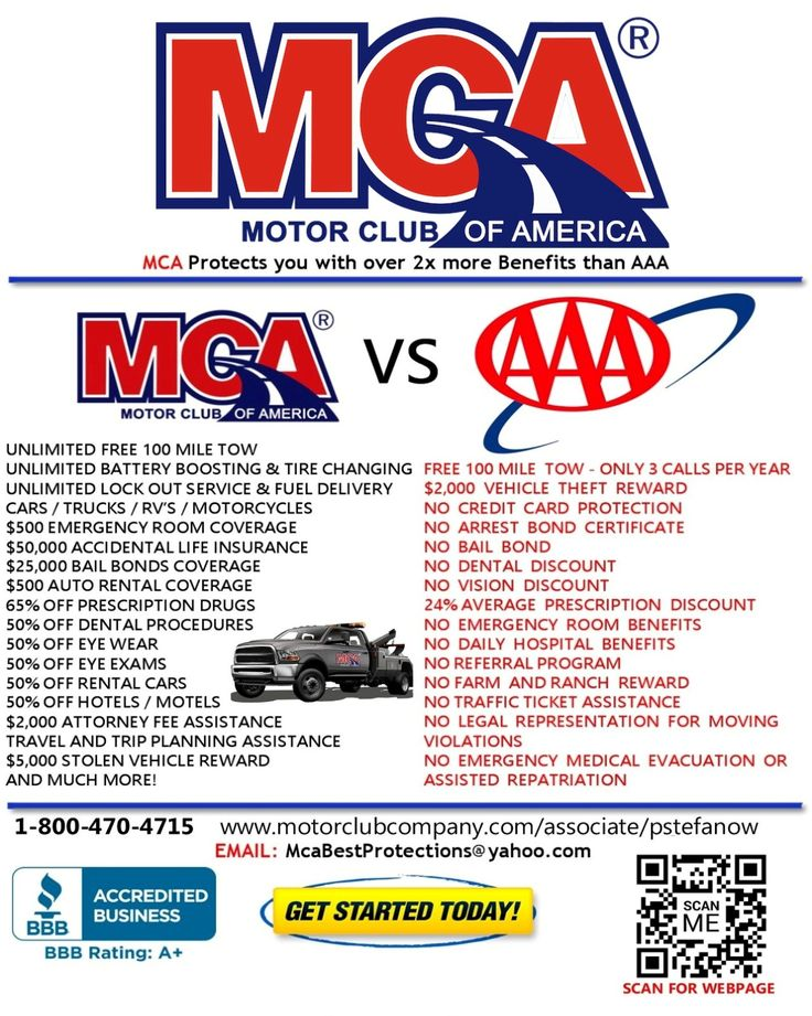 MCA Emergency Roadside Assistance  Protects you with over 2 TIMES more Benefits than AAA.  A trusted name since 1926, MCA is your friend on the open road, providing travel security and roadside assistance for people and families on the go. A membership in MCA delivers peace of mind so travelers enjoy their driving experience with less worry. Check it out Now!
