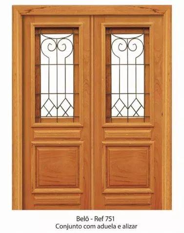 porta dupla de abrir ferro e madeira 2,10m x 1,20m angelim