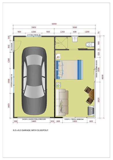 6x6 side entry garage with sleepout roller doors - Floorplan