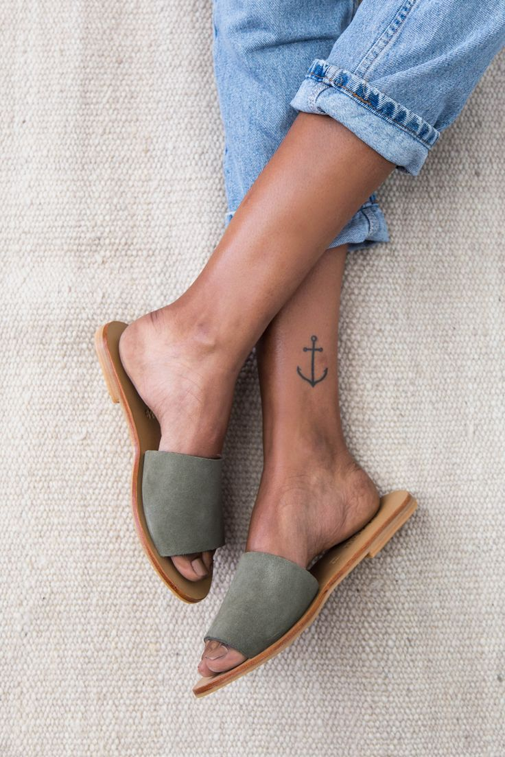 Aiko Basic Slides in Olive Suede
