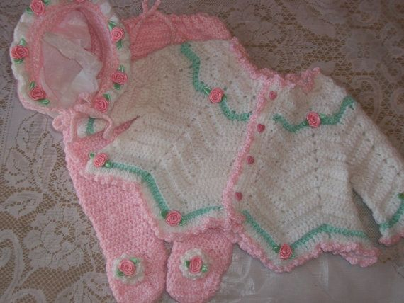 Image result for free crochet patterns for baby girl layette sets