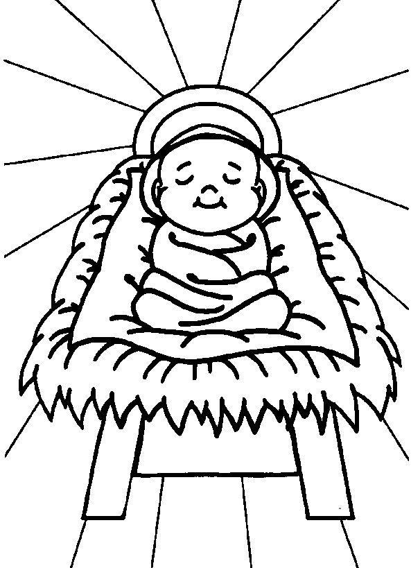Free Nativity Coloring Baby Jesus Warna Buku Mewarnai Kartu Natal