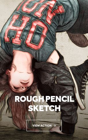 Rough pencil sketch photoshop action cs3