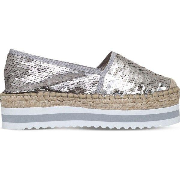Carvela Koko sequin flatform espadrilles (2.925 RUB) ❤ liked on Polyvore featuring shoes, sandals, espadrille shoes, espadrille flatforms, sport sandals, sports sandals and carvela shoes