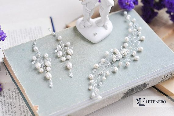 Wedding jewelry set Wedding hair accessories Freshwater Pearl