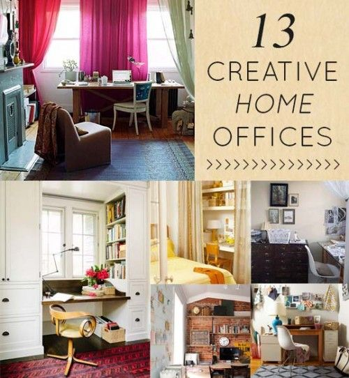 Working @ home today, so I'm sharing some my fav home offices. Here are 13 creative spaces that blend home/work well #homeoffice #office #Designsponge