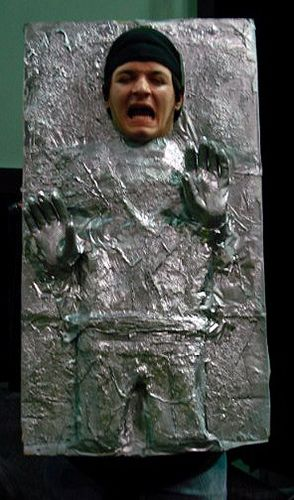han solo frozen in carbonite costume or as lena calls it the Han Solo popsicle costume