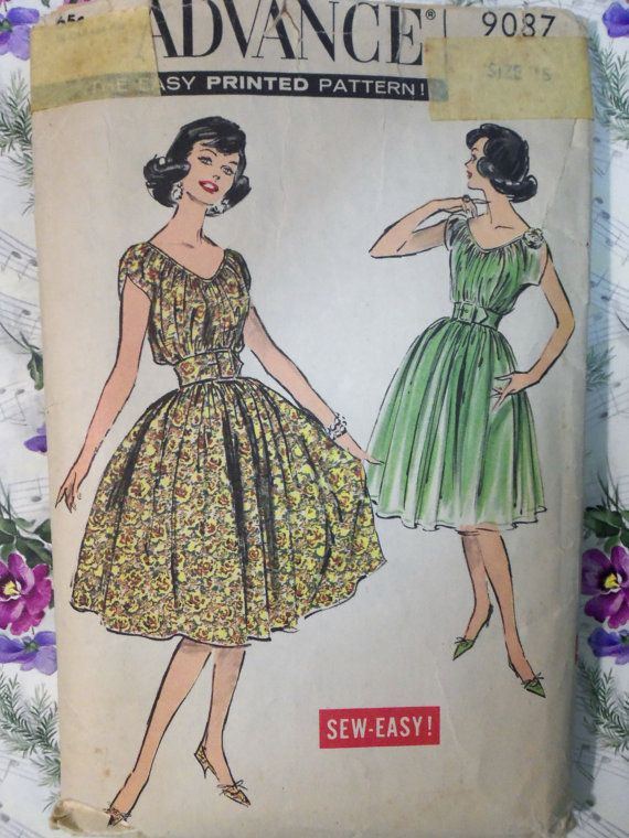 Vintage 1950s ADVANCE 9087 DRESS: Dress Patterns, 1950S Advanced, Clothing Patterns, Vintage 1950S, Patterns Vintage, Patterns Size, Dresses Patterns, 1950S Fashion, Sewing Patterns