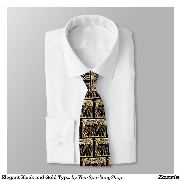 Elegant Black and Gold Typography Thanksgiving #party  Tie #thanksgiving #blackandgold #tie #menswear #menstyle