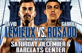 "Here are the Weigh-In Results for the upcoming middleweight fight that will air on HBO tomorrow between David Lemieux and ""King"" Gabriel Rosado. David Lemieux: 160 lbs. ""King"" Gabriel Rosado: 159.8 lbs. www.potshotboxing.com"