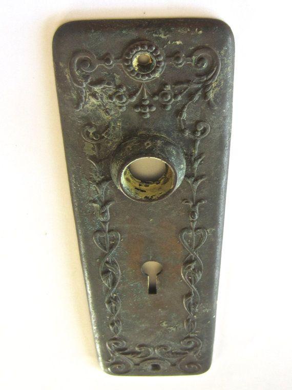 Vintage Door Escutcheon Plate   Mossy Patina