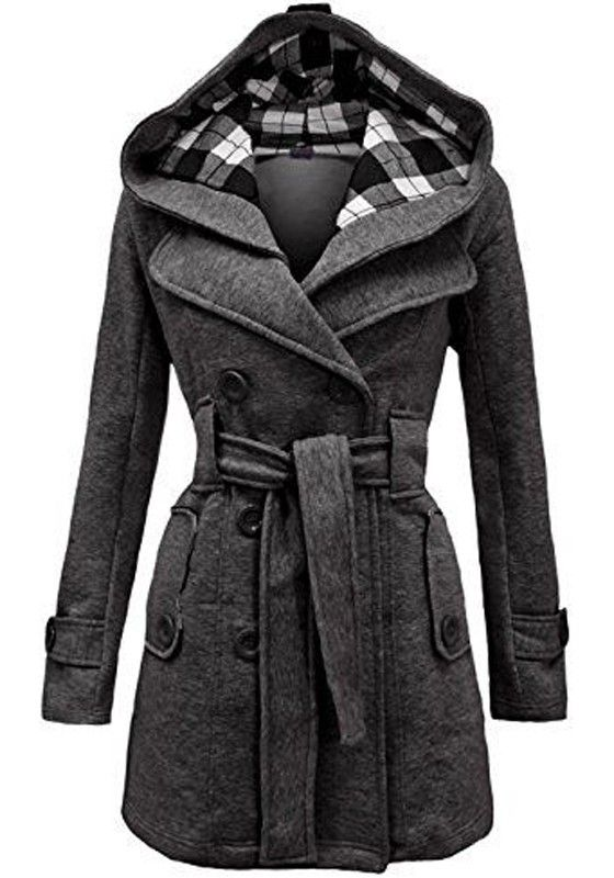 Grey Plain Belt Double Breasted Fashion Wool Coat