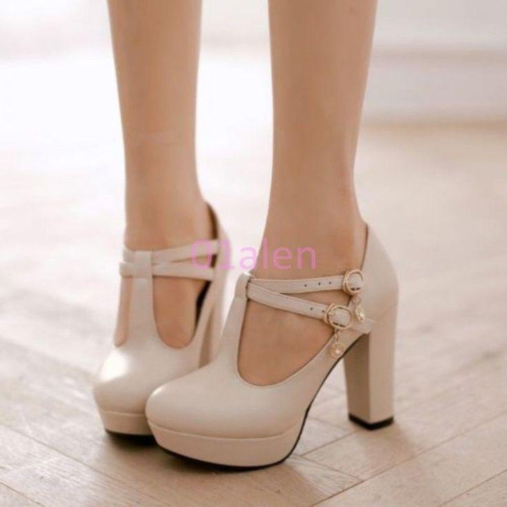 2015 Grils Retro High Thick Heel T Bar Strap Mary Janes Wedding Shoes Pump 34-43