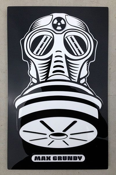 """Max Grundy 3-D SIGN ART (GASMASK)  9 x 15 """" Made of high gloss acrylic plastic-layered in 3-D Built to be wall hung with sturdy hardware Signed and Numbered Limited Edition of 25 sculptures. #maxgrundyart #thing3-D"""