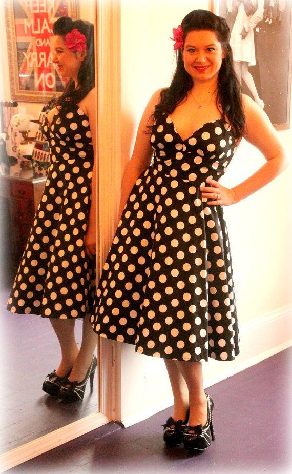 Polka dot rockabilly party dress by RavenBombshell on Etsy, $119.00