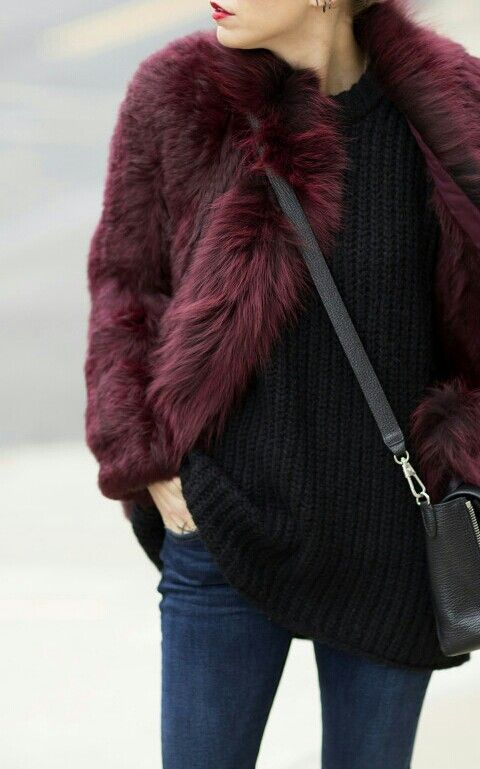 maroon faux fur coat