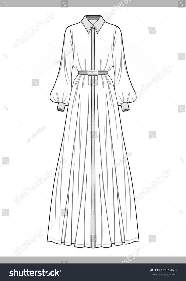 ドレスファッション技術図面ベクトルテンプレート-#dress #mode #technical #vek