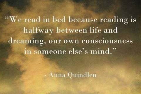 """""""We read in bed because reading is halfway between life and dreaming, our own conciousness in someone else's mind."""" --Anna Quindlen"""