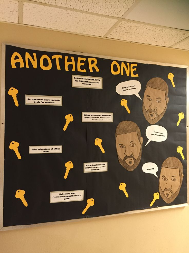 Another One. Dj Khaled's Major Keys to another successful semester .  Second semester welcome back bulletin board.…