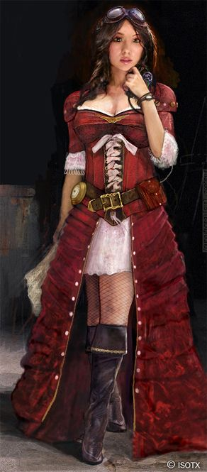 Interesting the way the classic red velvet coat from Pirate costume becomes a bustled skirt