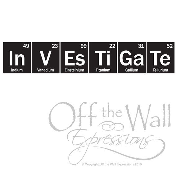 science wall decal investigate periodic table sticker classroom decor teacher decal science sticker - Periodic Table Symbols Into Words