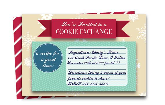 Cookie Exchange Invitation | Printable Cookie Swap Invite | Recipe Card Invitation | Etsy for $15