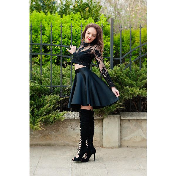Asymmetric Skirt High Waist Skirt Circle Skirt Elegant skirt Black... ($67) ❤ liked on Polyvore featuring skirts