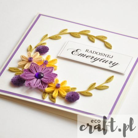 quilling, husking, DIY, handmade, paperart, greeting cards, retirement, ecocraft.pl