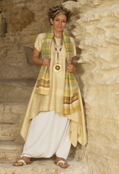 http://www.amalthee-creations.com Golden shantung silk tunic , hand painted silk scarf Spring/summer collection