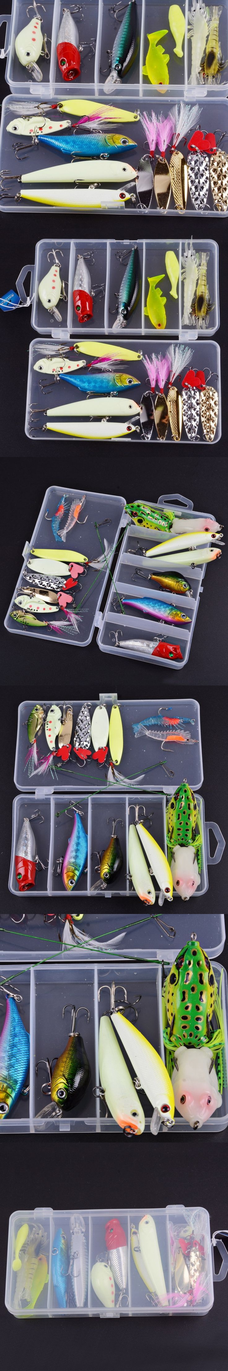 17pcs Fishing Lure Kit Mixed Luminous Night Fishing Minnow Lure Frog Lure VIB Metal Isca Artificial Hard Bait Leurre Souple Isca