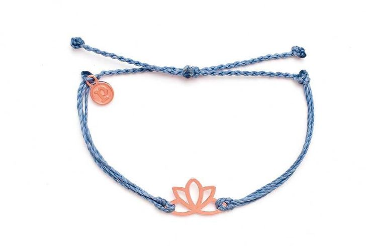 Rose Gold Lotus Columbia Blue Bracelet by Pura Vida