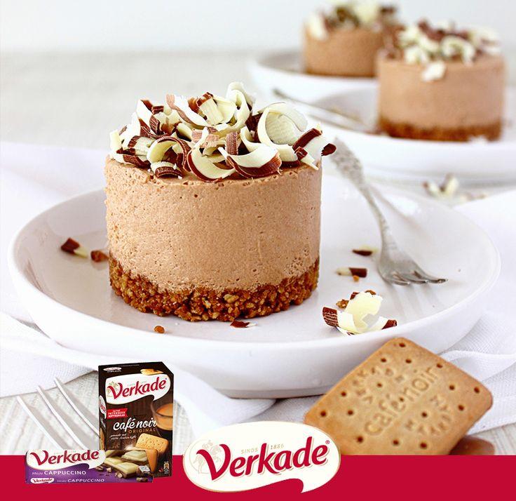 Cappuccino chocolademousse-taartjes met Verkade Cappuccino chocolade en Verkade Café Noir