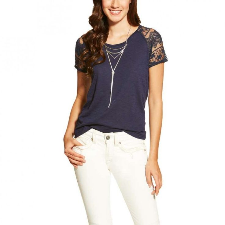 Ariat Ladies Debbie Top Peacoat A flirty casual top with a touch of lace. Also available in Pink. $54.95