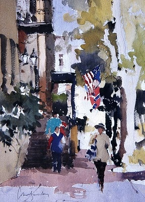 """""""Showing the Flags, Savannah"""" by John Yardley.  What a wonderful way of using fresh color with wet into wet and dry brush strokes."""