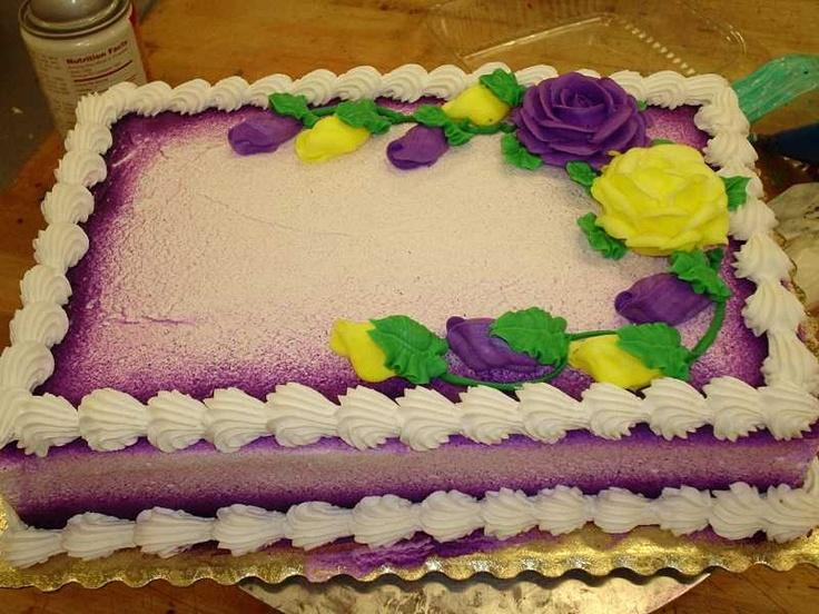 1/4 sheet cake with purple airbrush striping.